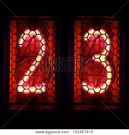 The  Nixie tube indicator of the numbers of retro style.  Digit 2, 3