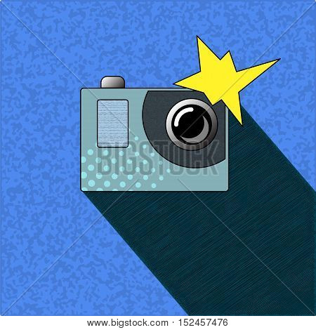 Photocamera with flash in pop art style. Action camera with small lens and metallic button. Modern vector illustration with textured background