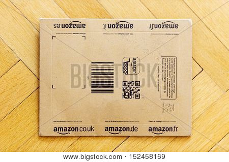 Small Amazon box used for books and other small object delivery with Amazon.com Amazon.it Amazon.de Amazon.co.uk Amazon.fr Amazon.es. Amazon is an American electronic e-commerce company distribution worlwide
