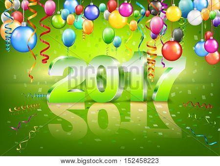 Happy New Year 2017 bright horizontal green greeting card with 3D glossy numbers and balloons. Vector template