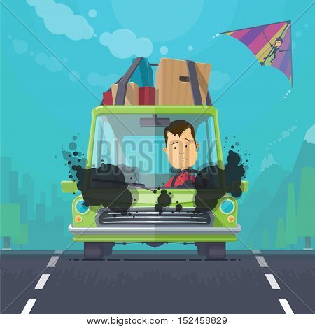 Trendy flat design vehicle sedan car accident after a car accident a broken traffic and surly driver, hang-glider in the sky vector illustrations