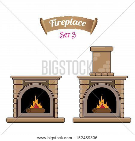 fireplace icon set isolated on white. Burning brown brick fireplace with firewood.