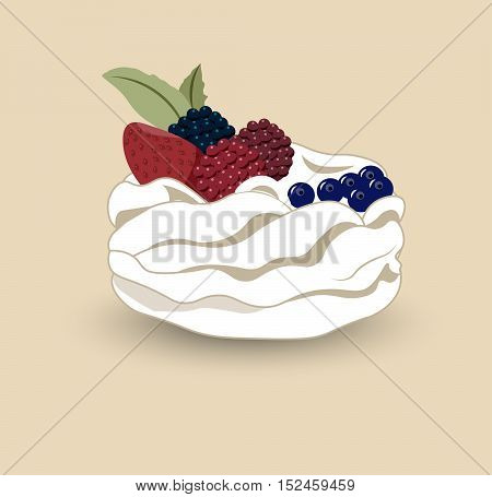 Pavlova is a meringue-based dessert with a fresh berries named after the Russian ballerina Anna Pavlova.