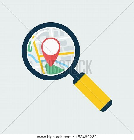 Map inside magnifier flat icon. Magnifying glass with handle zooming fragment of a navigational map focused on gps symbol. Colored vector eps8 illustration.