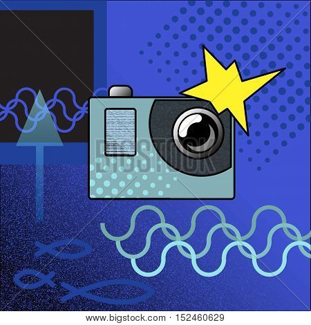 Photocamera vector illustration in modern style. Flat action camera image with textures and symbols. Underwater photography. Extreme sport hi-tech gear.