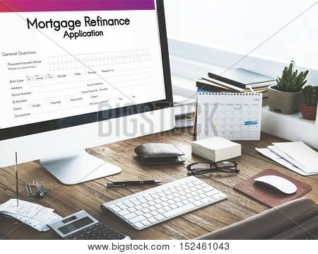 Mortgage Refinance Application Form Concept