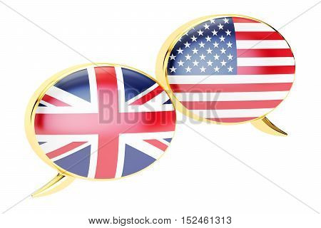 Speech bubbles American-English dialog concept. 3D rendering isolated on white background