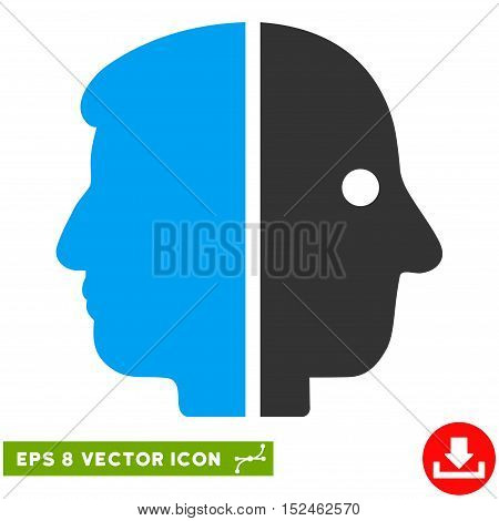 Dual Face EPS vector icon. Illustration style is flat iconic bicolor blue and gray symbol on white background.