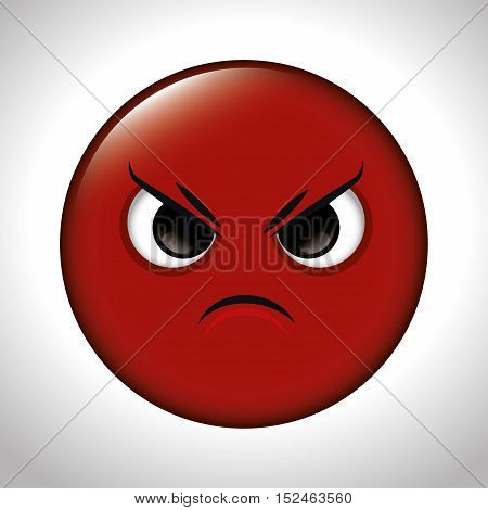 cartoon anger red emoticon graphic vector illustration eps 10