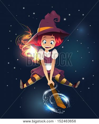 vector illustration of scared witch flying on broom. little young girl character. night dark background. magic sparcle. happy halloween