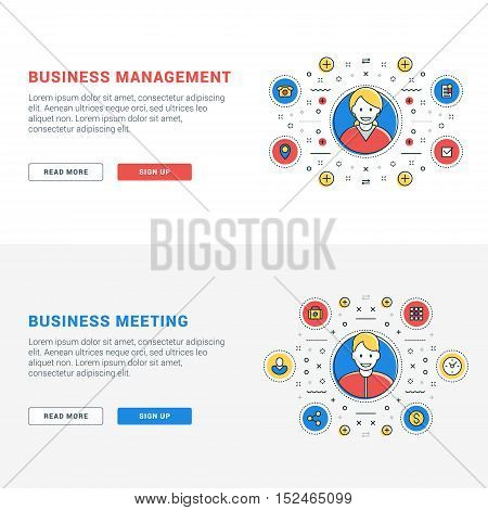 Set of flat line business website banner templates. Vector illustration. Modern thin line icons in circle. Illustration Concepts for Web Banners and Promotional Materials. Business management. Business meeting