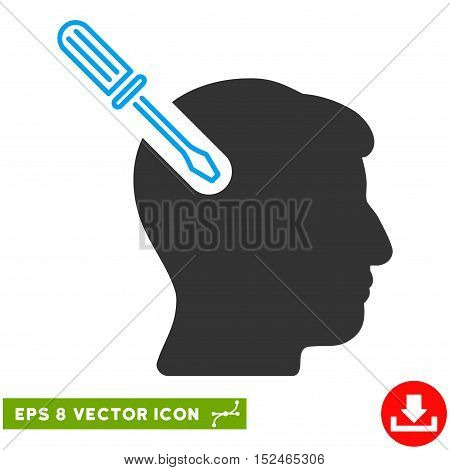 Head Surgery Screwdriver EPS vector pictograph. Illustration style is flat iconic bicolor blue and gray symbol on white background.