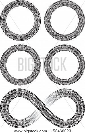 Set of four round vector frames in tire traces style and tire style infinity sign
