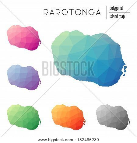 Set Of Vector Polygonal Rarotonga Maps Filled With Bright Gradient Of Low Poly Art. Multicolored Isl