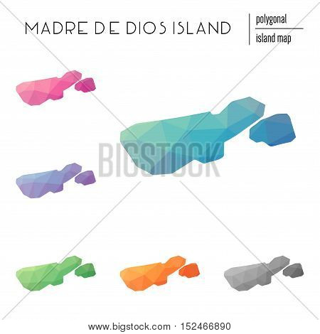 Set Of Vector Polygonal Madre De Dios Island Maps Filled With Bright Gradient Of Low Poly Art. Multi
