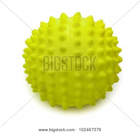 Spiky rubber massage ball isolated on the white background close-up.