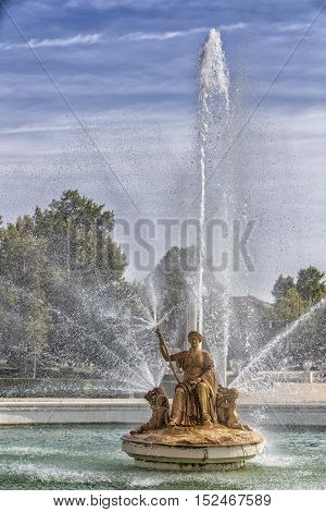 Aranjuez Spain - October 16 2016: Fountain of the goddess Ceres parterre in the garden of the palace of Aranjuez located in the Royal Site and town of Aranjuez Madrid province Spain