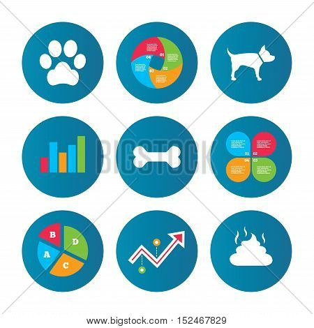 Business pie chart. Growth curve. Presentation buttons. Pets icons. Dog paw and feces signs. Clean up after pets. Pets food. Data analysis. Vector