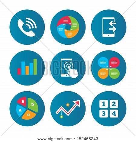 Business pie chart. Growth curve. Presentation buttons. Phone icons. Touch screen smartphone sign. Call center support symbol. Cellphone keyboard symbol. Incoming and outcoming calls. Data analysis