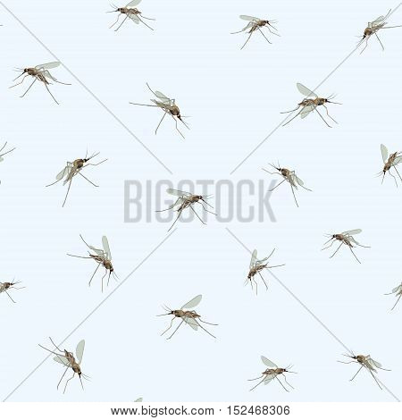 Mosquitos Seamless pattern. Mosquitos isolated on blue sky background. Incest wildlife tropical nature pattern.