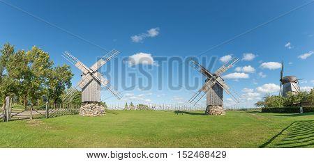 Three wooden windmills in Angla, island of Saaremaa, Estonia.