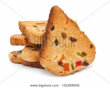 Rusks With Candied Fruit, Isolated On A White Background, Close-up.