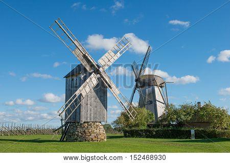 Traditional wooden windmills, island of Saaremaa, Estonia.
