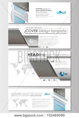 Social media and email headers set, modern banners. Business templates. Cover design template, easy editable, abstract flat layout in popular sizes. Scientific medical research, chemistry pattern, hexagonal design molecule structure, science vector backgr