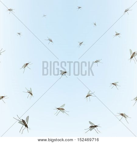 Mosquitos Seamless border. Mosquitos over blue sky background. Incest pattern. Wildlife tropical nature background