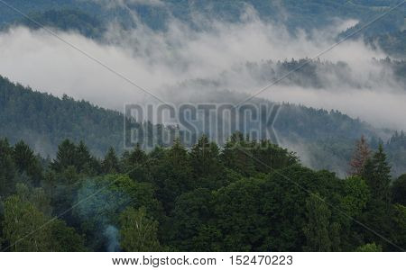 Panorama of beautiful green landscapes in the mist and rain