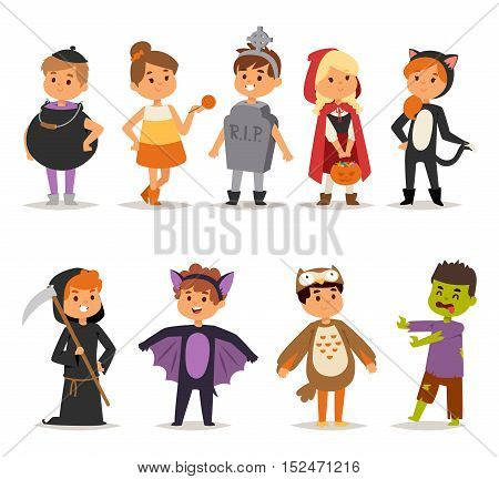 Cute kids wearing carnival halloween costume kids holiday.
