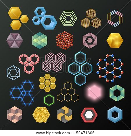 Vector linear hexagon logos and design elements. Different honeycombs abstract icons geometric modern business and technologies. Different honeycombs graphic set abstract texture collection.