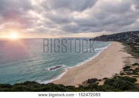 White Sand Beach On A Cloudy Day