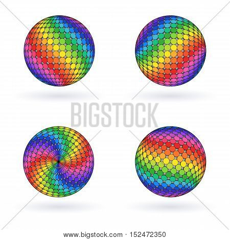 Bright Colorful Rainbow 3D Sphere. Iridescent Mosaic Ball.