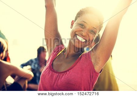 African Descent Woman Happiness Vacation Beach Concept