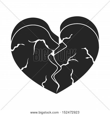 Heart icon in black style isolated on white background. Romantic symbol vector illustration.
