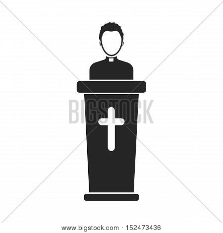 Priest icon in black style isolated on white background. Religion symbol vector illustration.