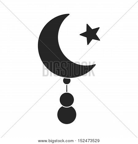 Crescent and Star icon in black style isolated on white background. Religion symbol vector illustration.