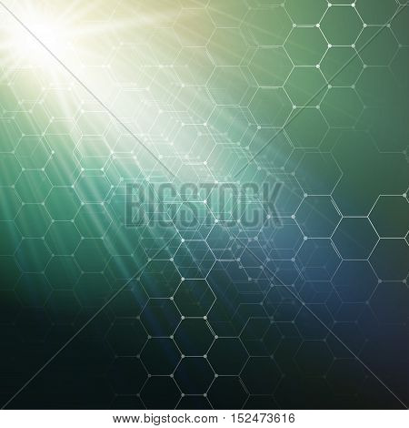 Chemistry 3D pattern, hexagonal design molecule structure on green, scientific medical research. Medicine, science and technology concept. Motion design. Geometric abstract background
