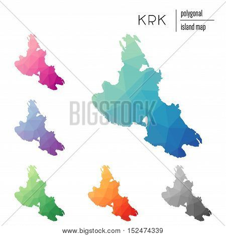 Set Of Vector Polygonal Krk Maps Filled With Bright Gradient Of Low Poly Art. Multicolored Island Ou