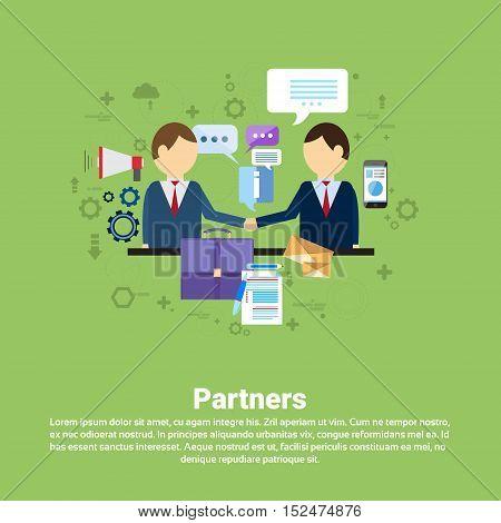 Businessman Partners Shake Hand Partnership Concept Business Web Banner Flat Vector Illustration