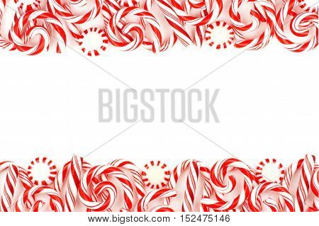 Christmas Candy Double Border With Peppermints And Candy Canes Over A White Background
