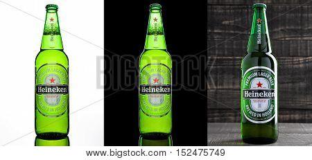 LONDONUK -OCTOBER 17 2016: Bottle of Heineken Lager Beer on three different backgrounds. Heineken is the flagship product of Heineken International