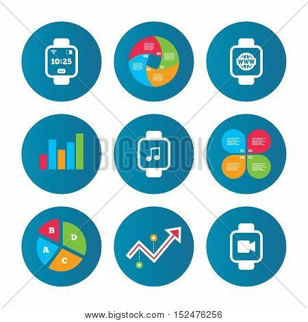 Business pie chart. Growth curve. Presentation buttons. Smart watch icons. Wrist digital time watch symbols. Music, Video, Globe internet and wi-fi signs. Data analysis. Vector