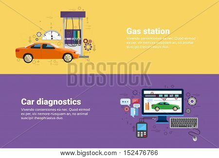 Gas Petrol Station, Car Computer Diagnostics Service Auto Mechanics Business Web Banner Flat Vector Illustration