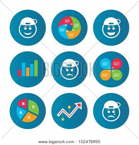 Business pie chart. Growth curve. Presentation buttons. Rapper smile face icons. Happy, sad, cry signs. Happy smiley chat symbol. Sadness depression and crying signs. Data analysis. Vector