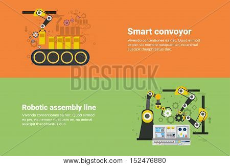 Smart Conveyor, Robotic Assembly Line Industrial Automation Industry Production Web Banner Flat Vector Illustration
