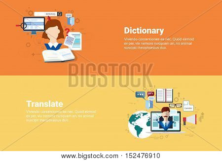 Translate Dictionary Vocabulary Technology Translation Tool Web Banner Flat Vector Illustration