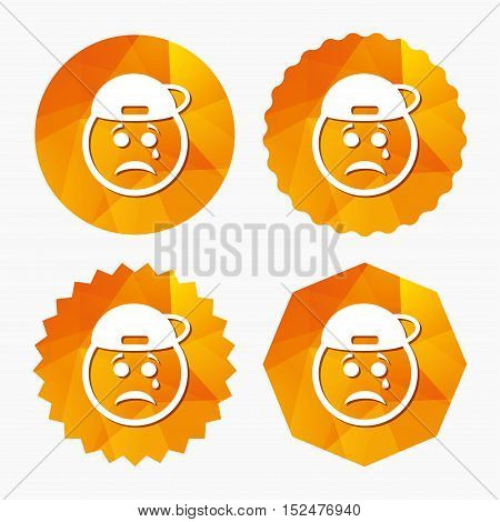 Sad rapper face with tear sign icon. Crying chat symbol. Triangular low poly buttons with flat icon. Vector