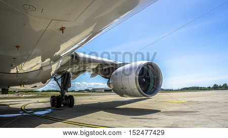Labuan,Malaysia-Oct 19,2016:MASkargo Airbus A330-200F aircraft id 9M-MUA with General Electric CF6-80E1 turbofan engine at Labuan Airport on 19th Oct 2016.